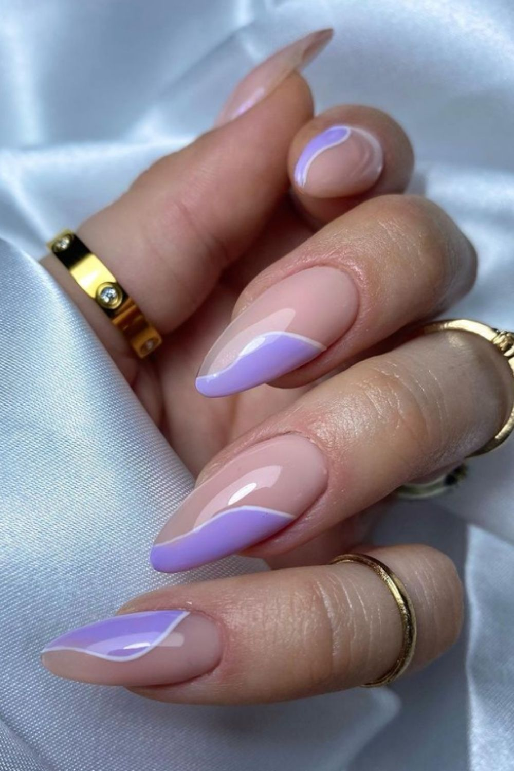 Pink and purple almond nail