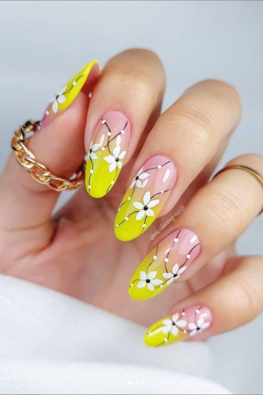 Nude and yellow nail art
