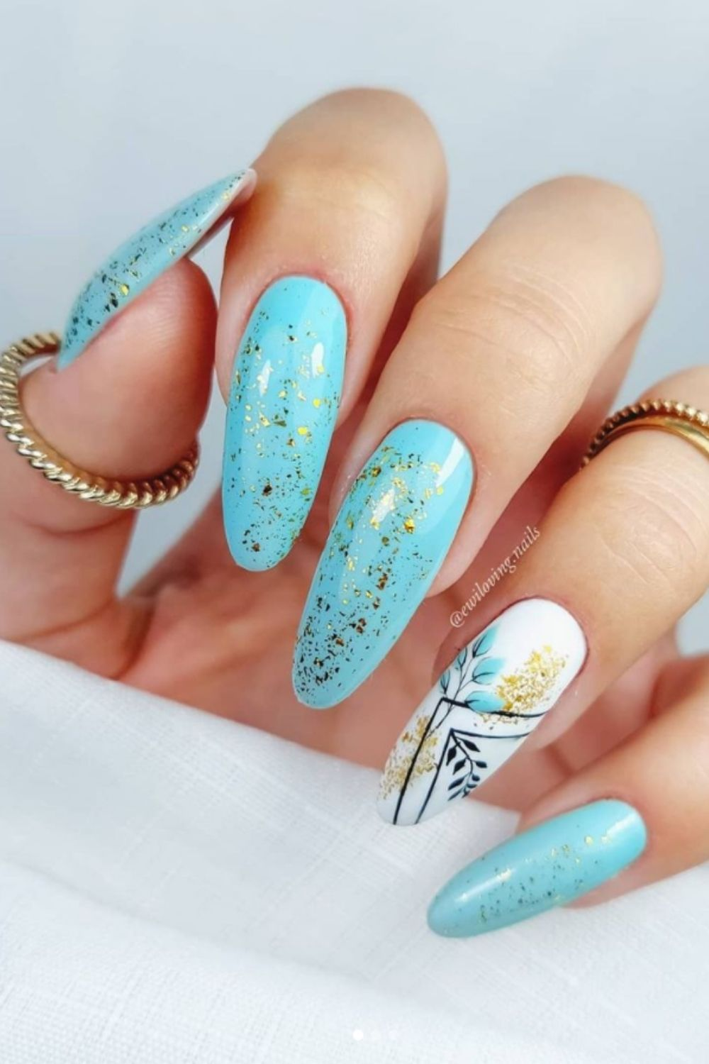 Gold glitter and light blue nail ideas