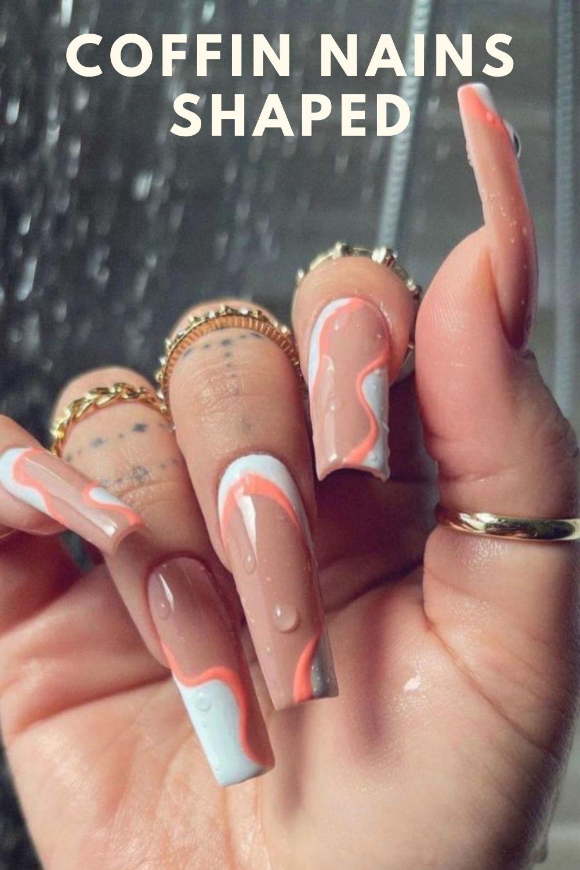 White and orange coffin nails