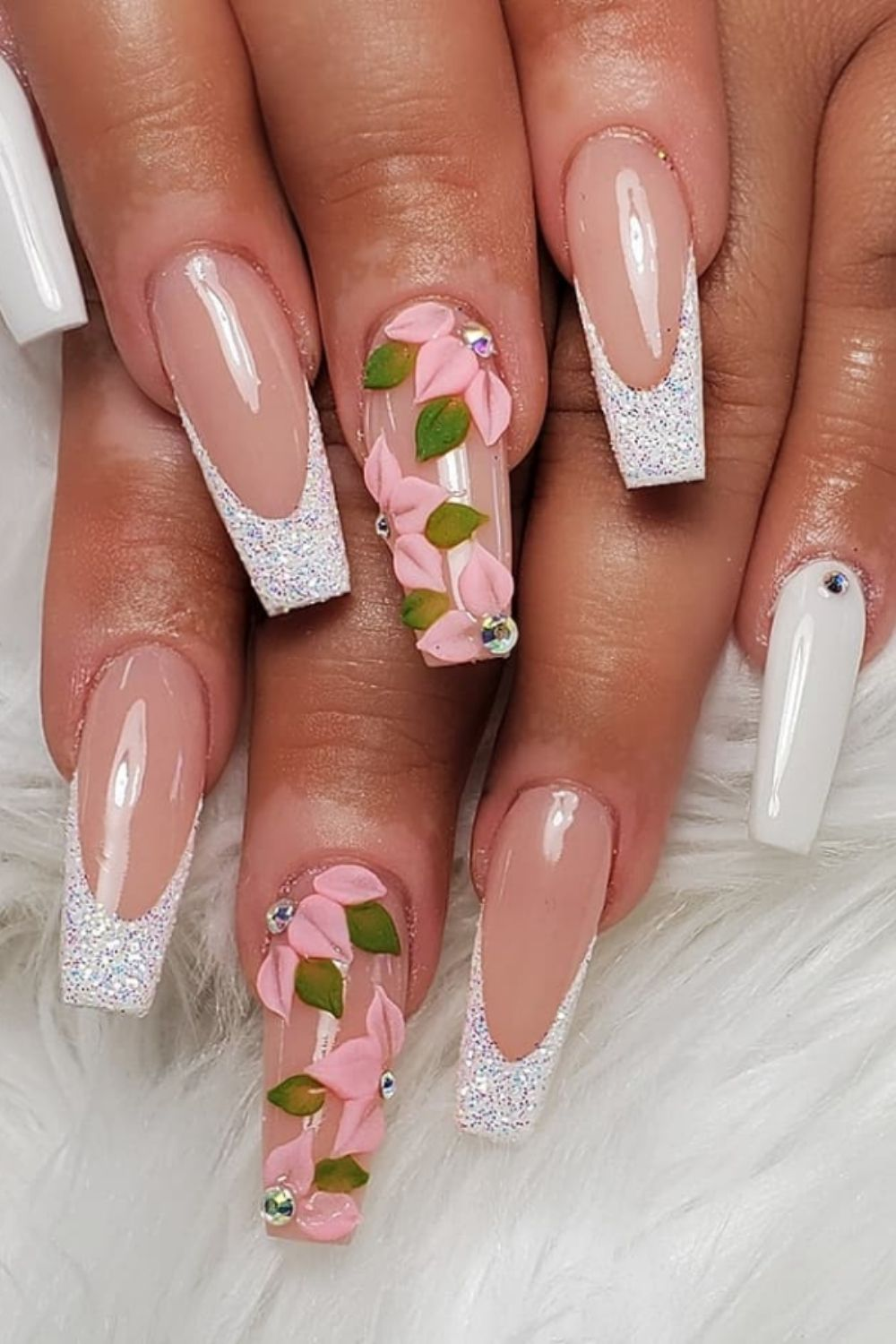 3D flower and glitter coffin nail
