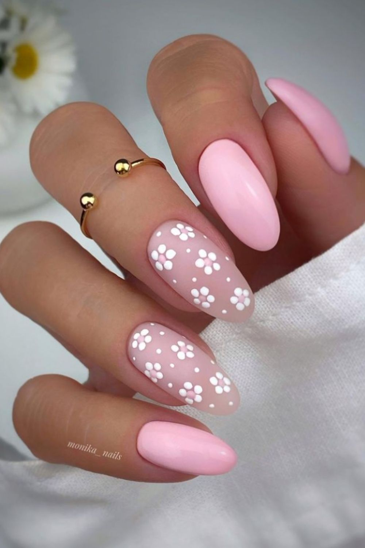 Flower almond nail designs