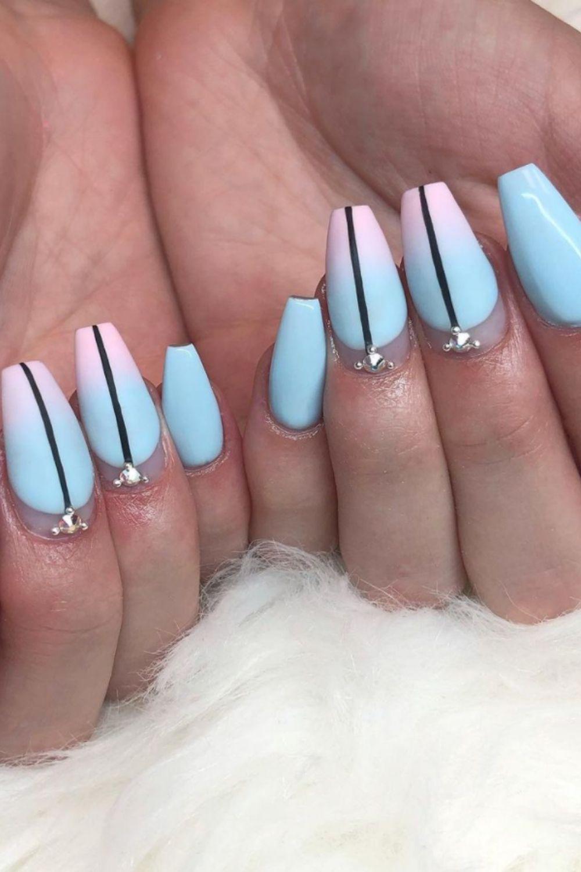 Gradient coffin nail design