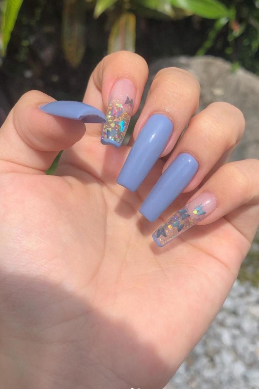Unique blue coffin nails ideas