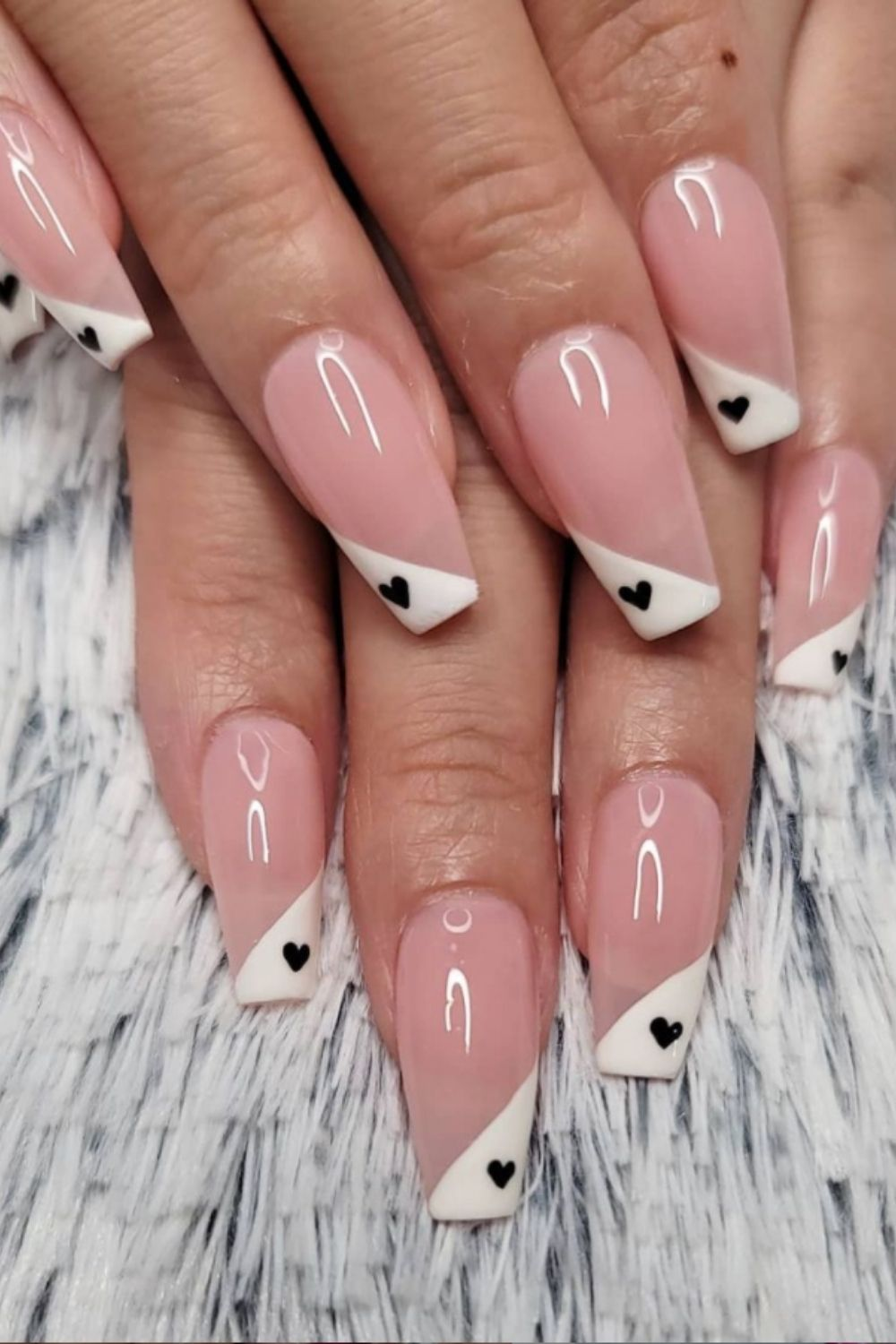 White and pink coffin nails with black heart