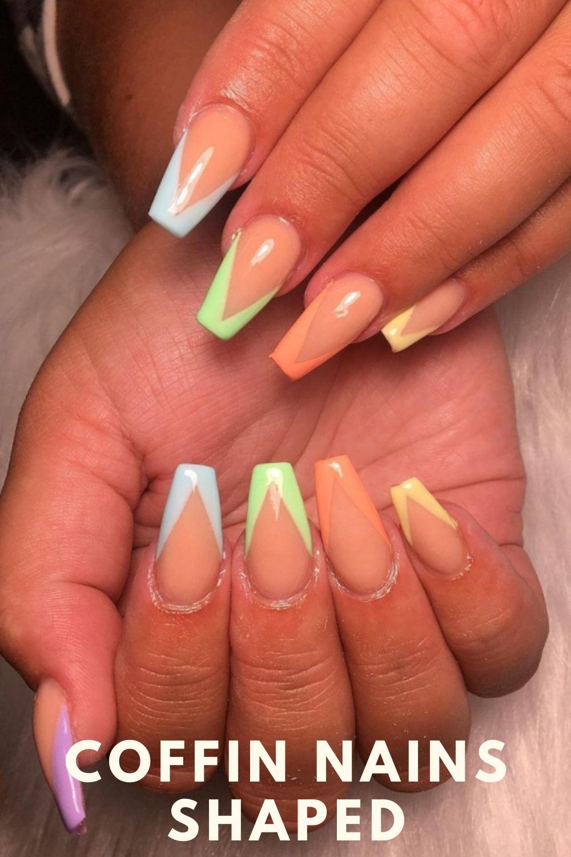 Rainbow tip coffin nails