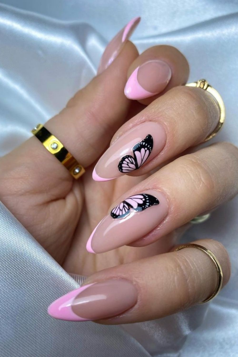 French nail with butterfly