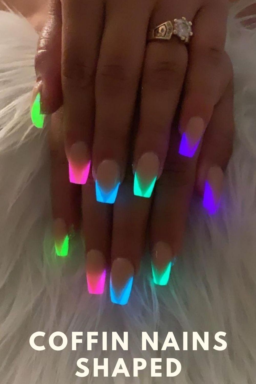 Glowing coffin nail design