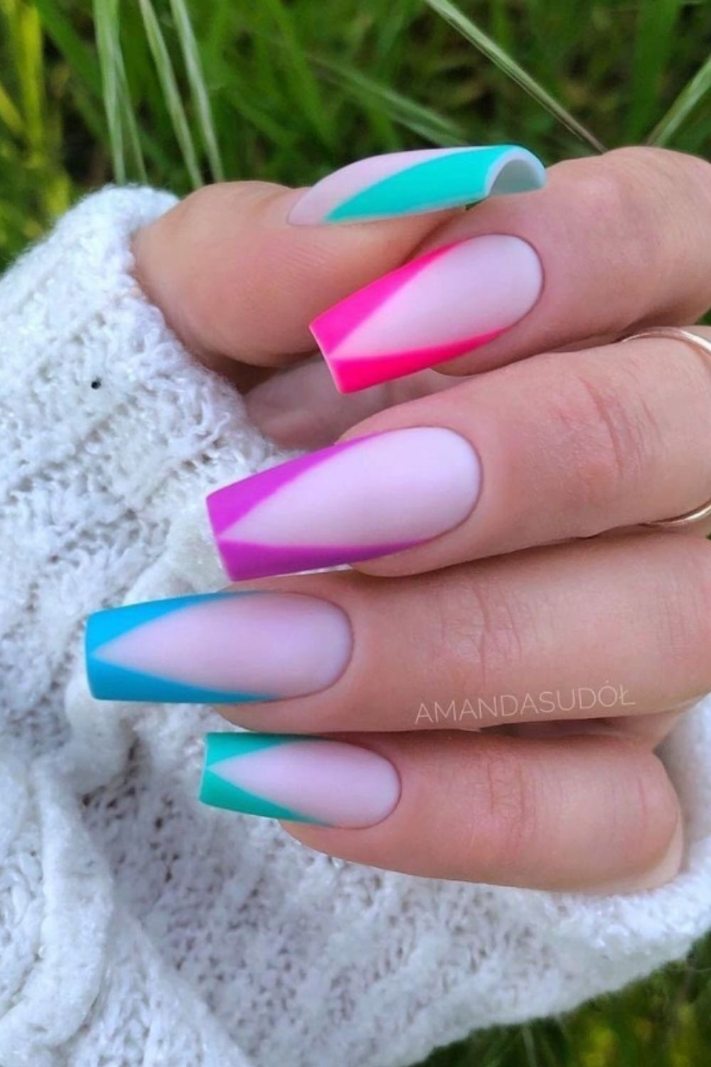 Spring nails designs for coffin nails