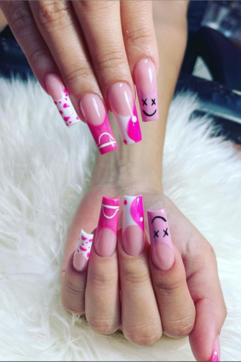 Long coffin nail ideas with Smiling face