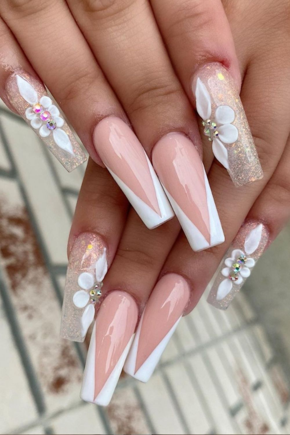 Pink and white coffin nail white 3D flowers