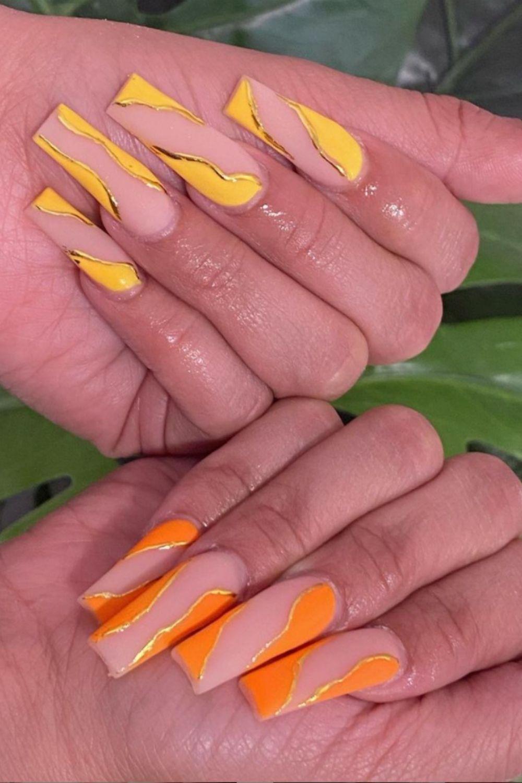 Avant-garde yellow coffin nails