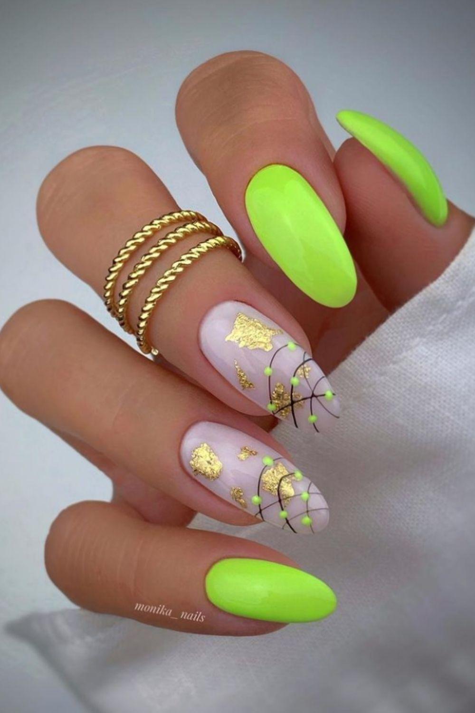 Glitter and neon nail art