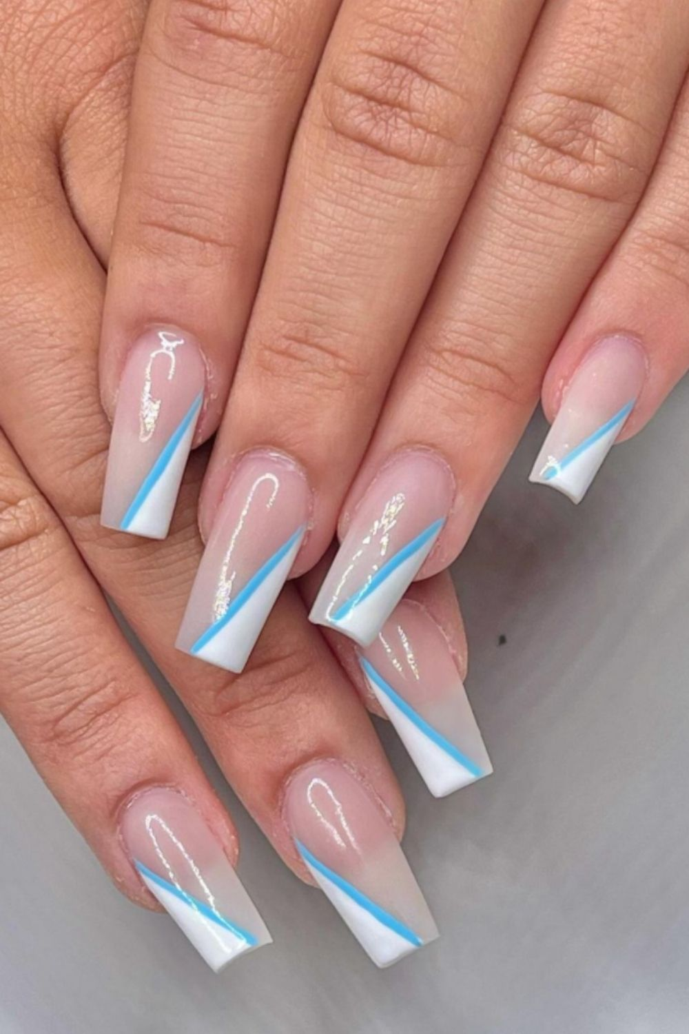 Light blue and white summer coffin nails