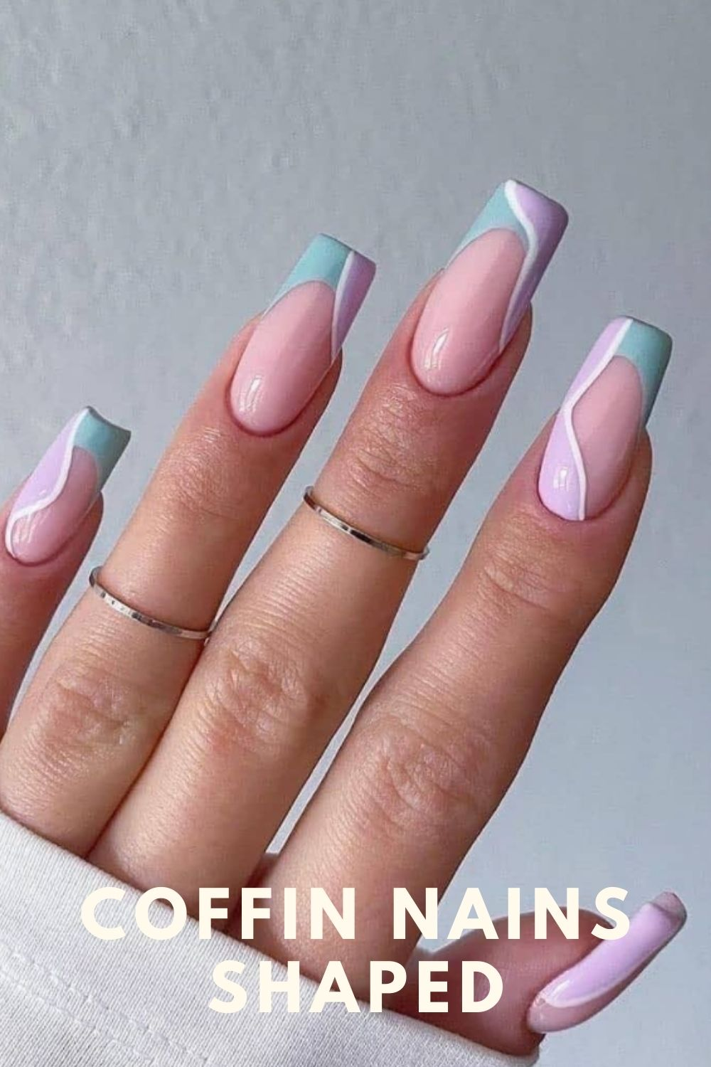 Purple and  light green coffin nails