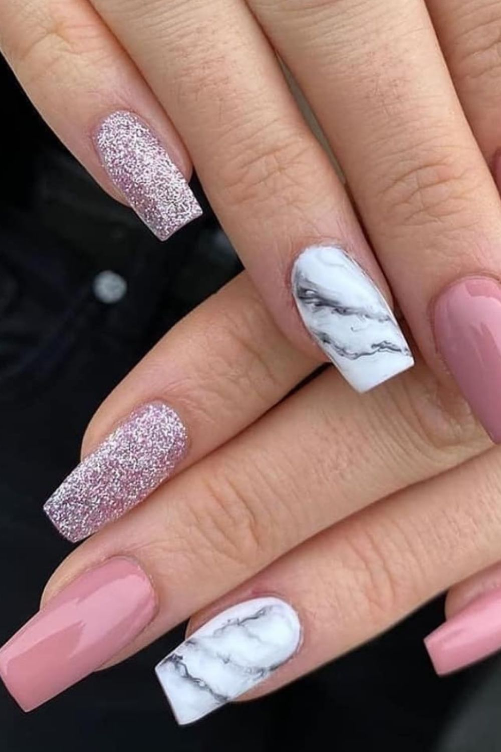 Marble and shiny coffin nail art design