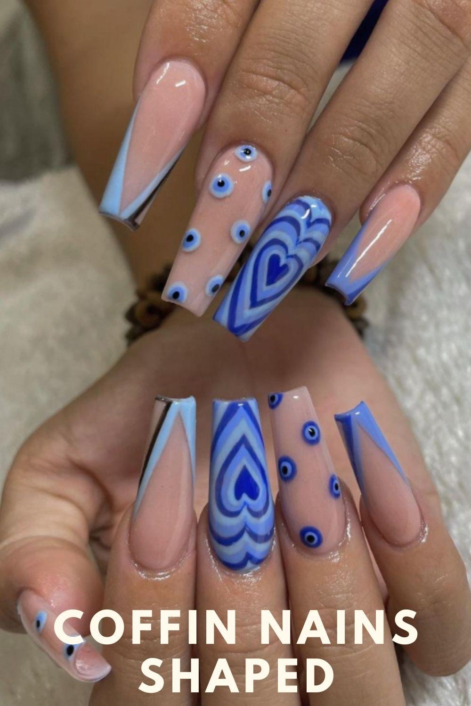 Light blue heart coffin nails