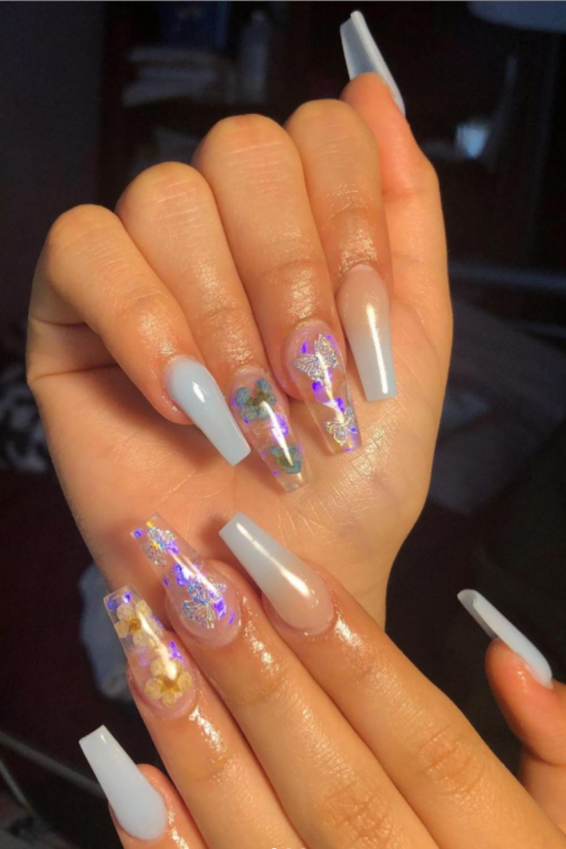 Hot light blue ombre nails