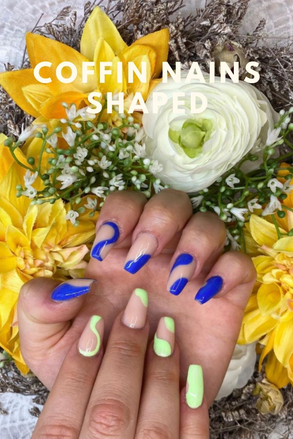 Neon and blue coffin nails