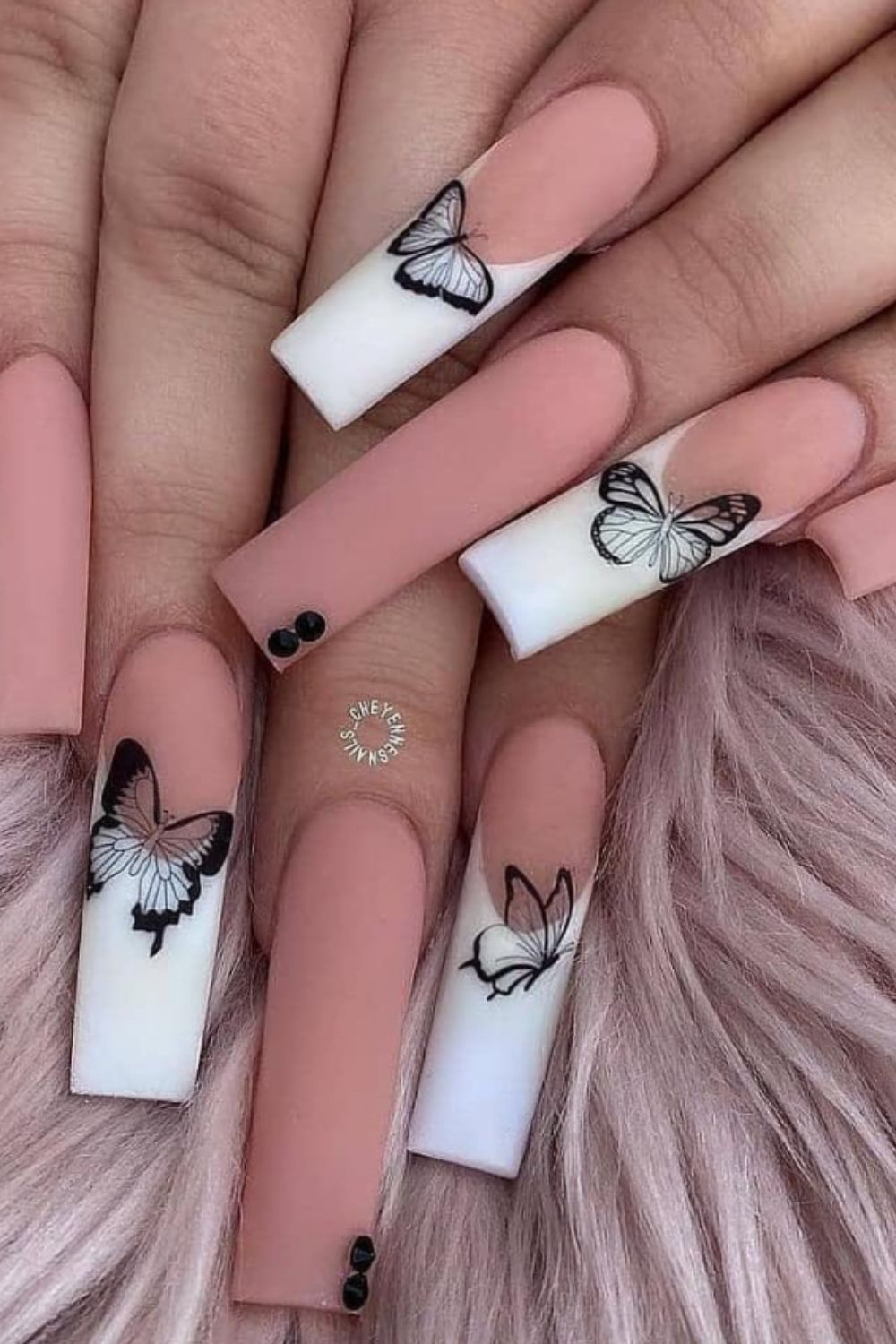 Pink and white coffin shaped nail art designs for butterfly