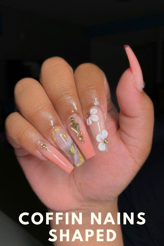 3D flower coffin nails