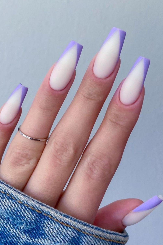 Purple tip coffin nails