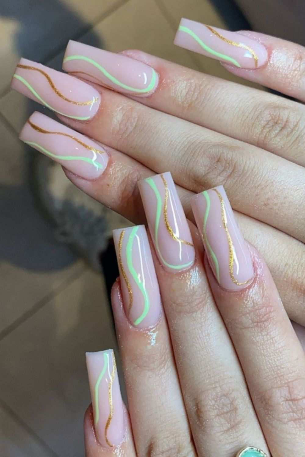 Rainbow nails for coffin shaped nail art designs