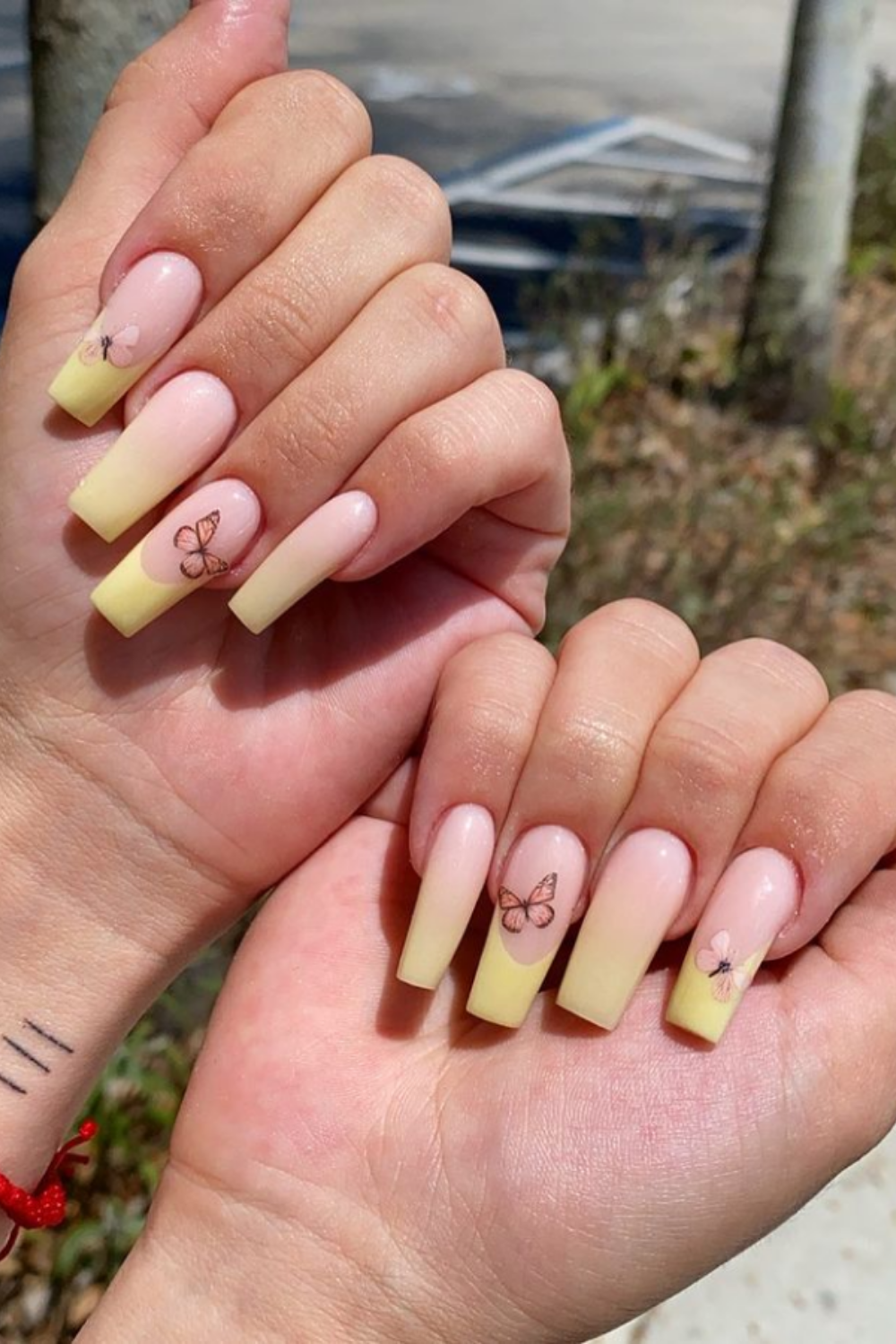 Yellow tip nails for coffin nails designs