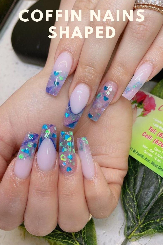 Blue tip coffin nails