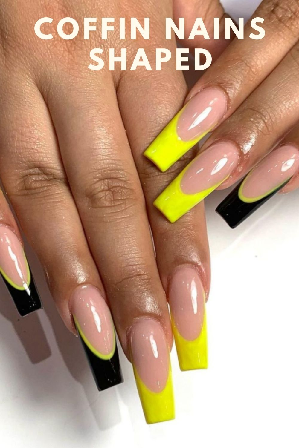 Yellow and black coffin nails