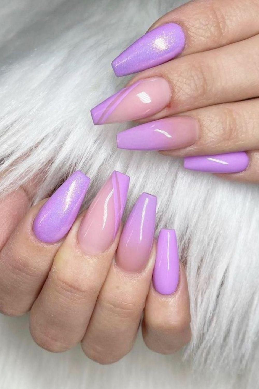 Beautiful naked purple coffin nail
