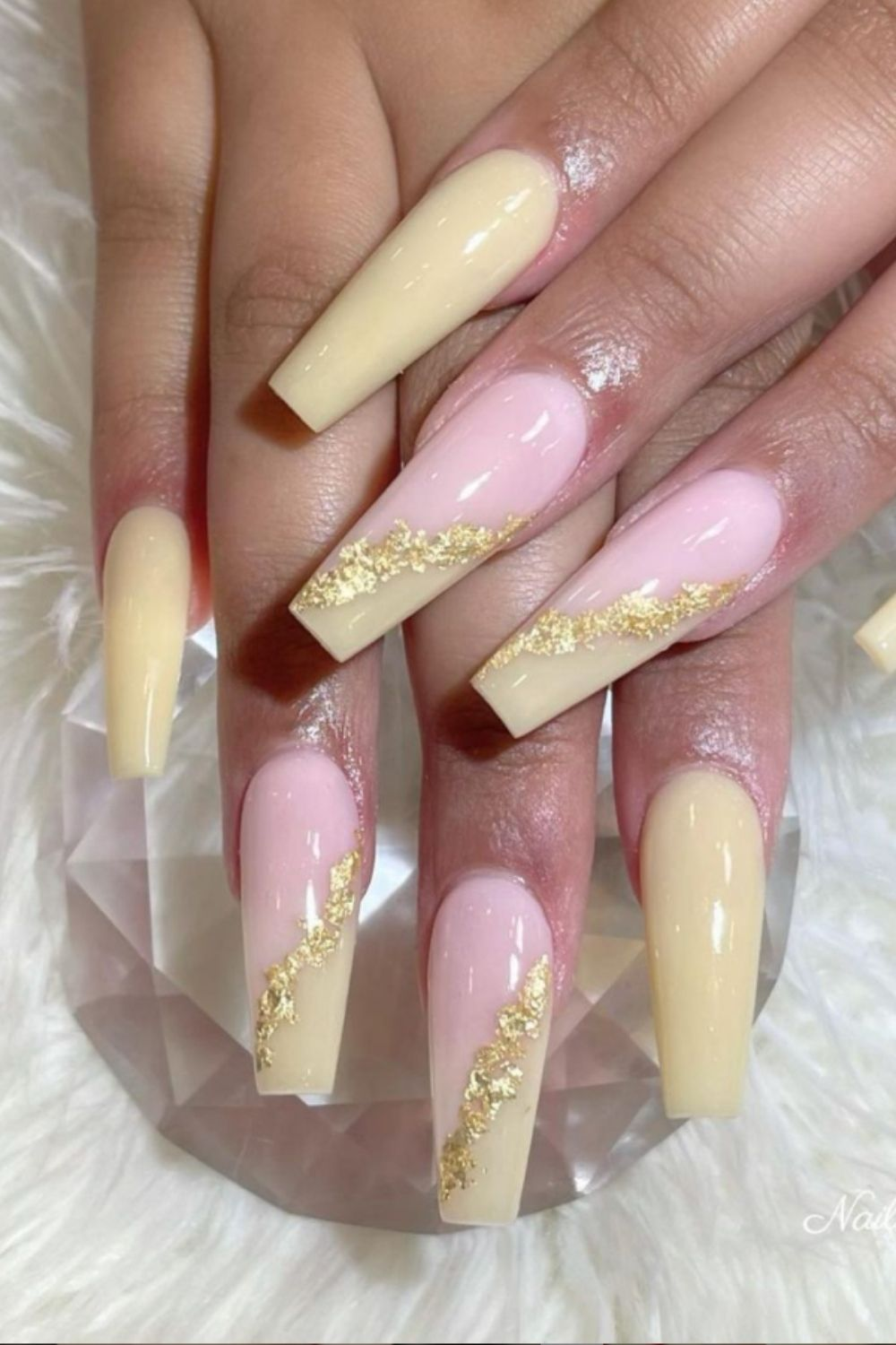 Glitter and yellow coffin nail designs