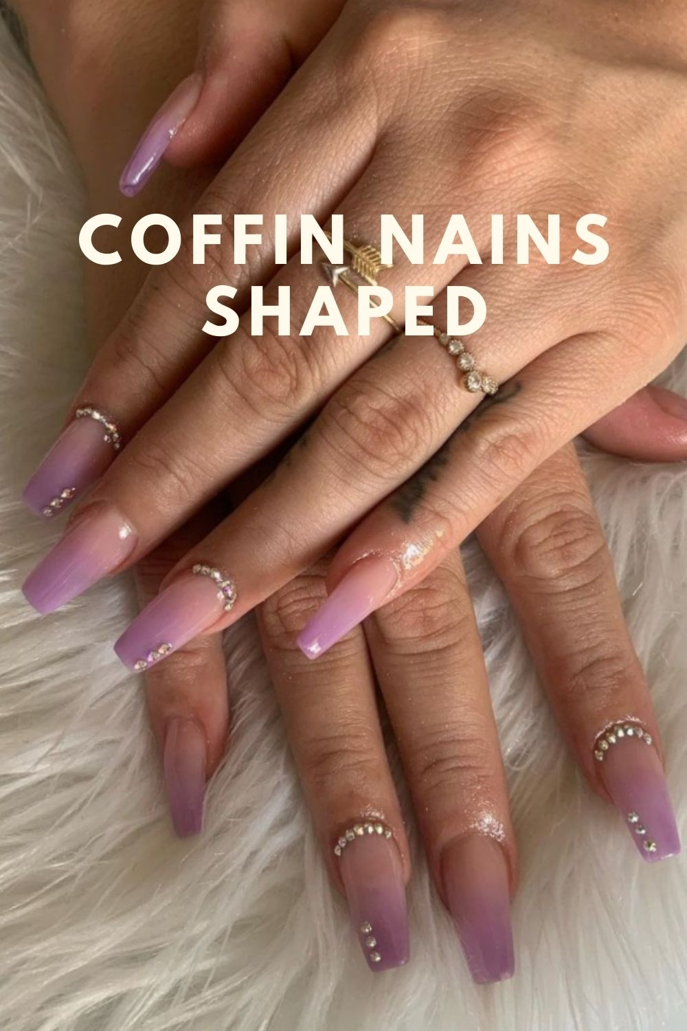 Nude and purple coffin nails