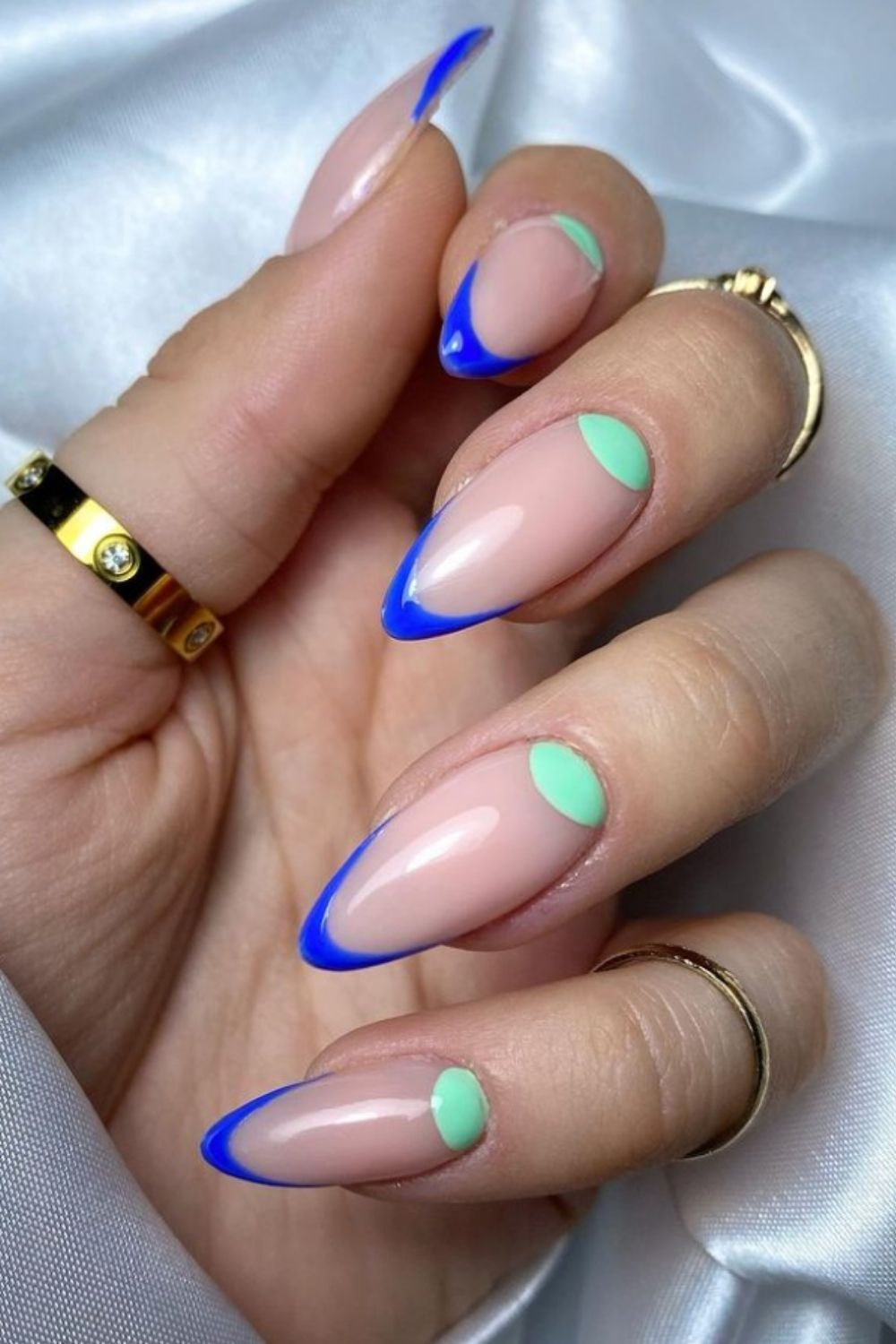 Neon and blue almond nails