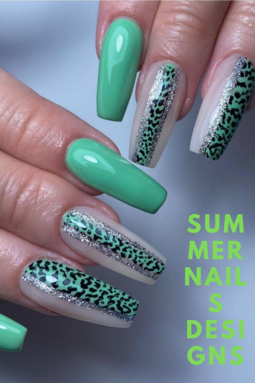 Green cute summer nail art design