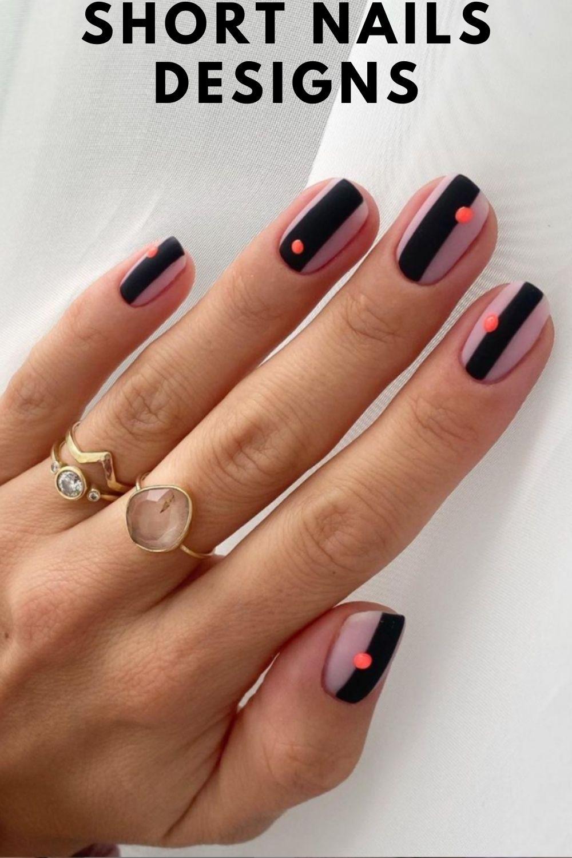 Black and pink short nail designs for summer nails art