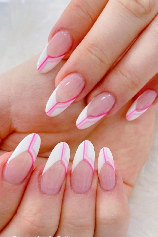White tip almond nails