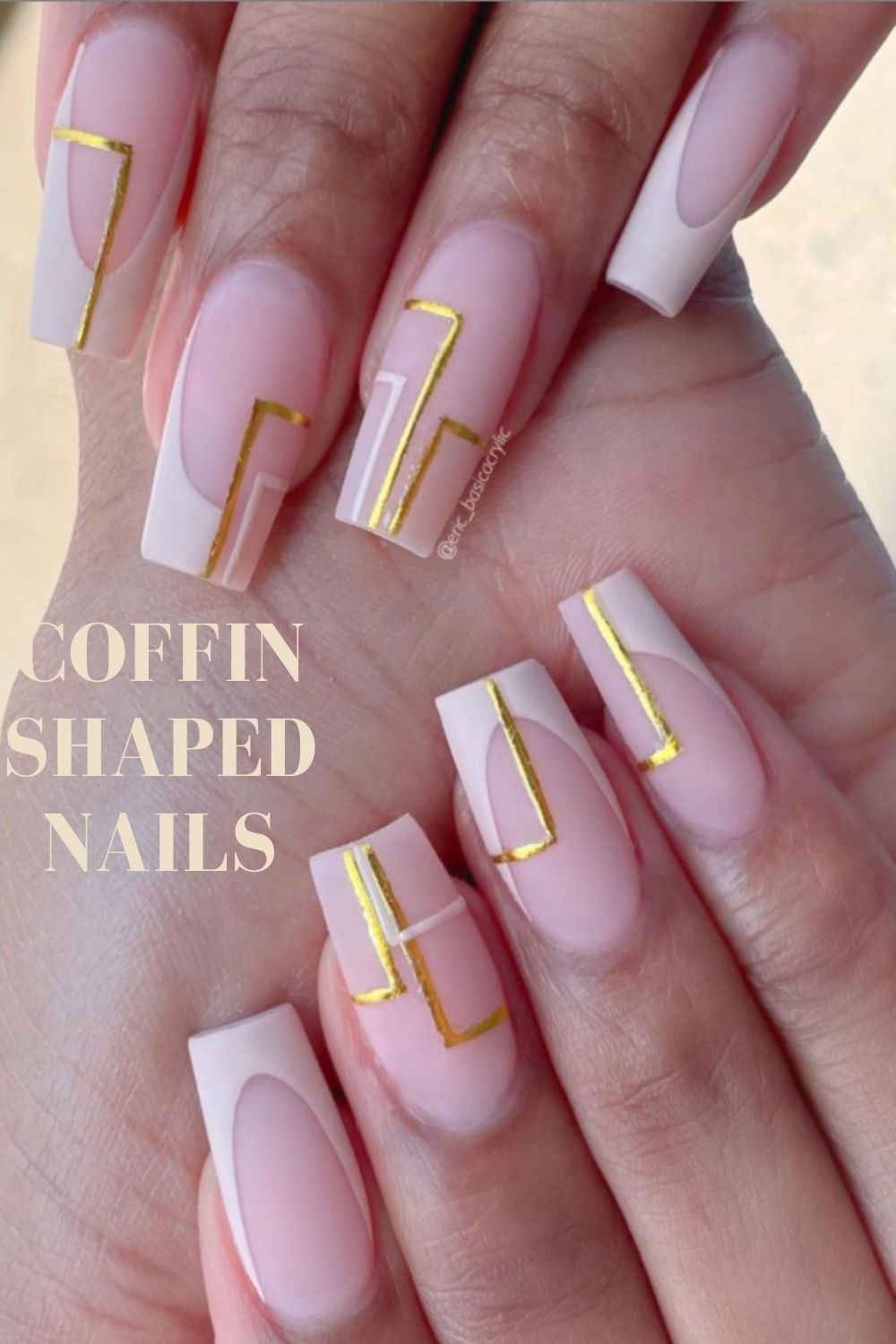 White and pink coffin nail ideas