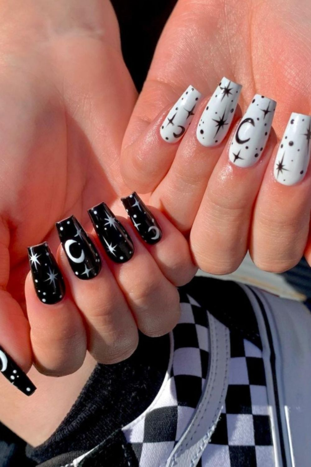 Black and white coffin nails for colorful summer nails