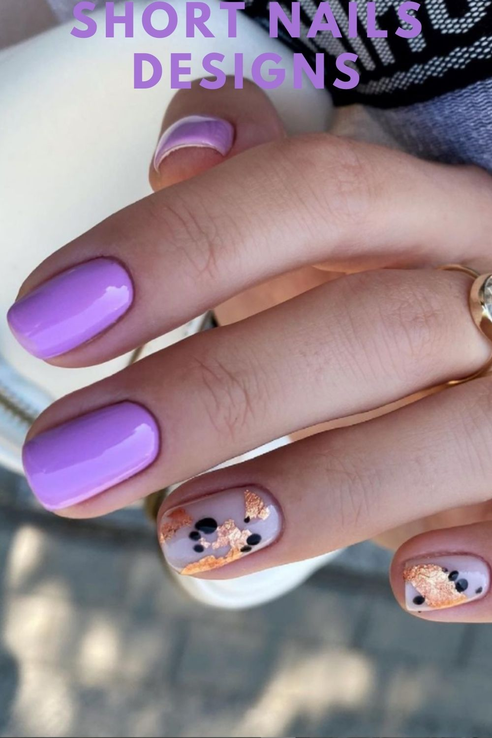 Purple and gold nails art