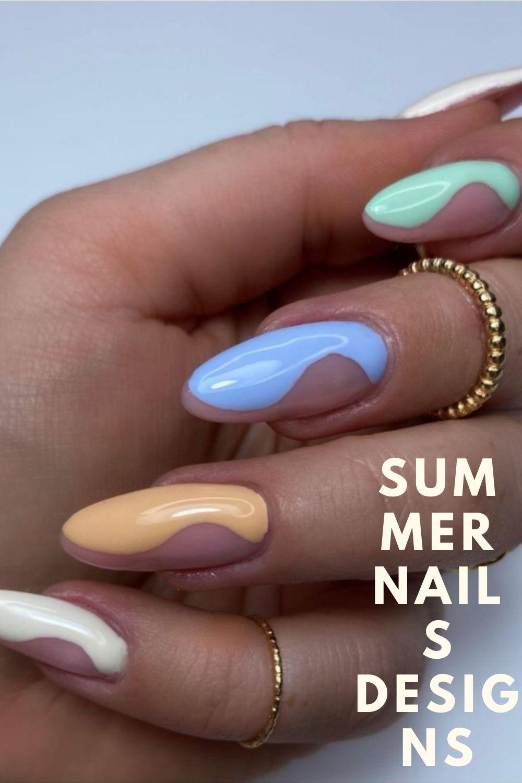 Neon, blue, yellow almond nails designs