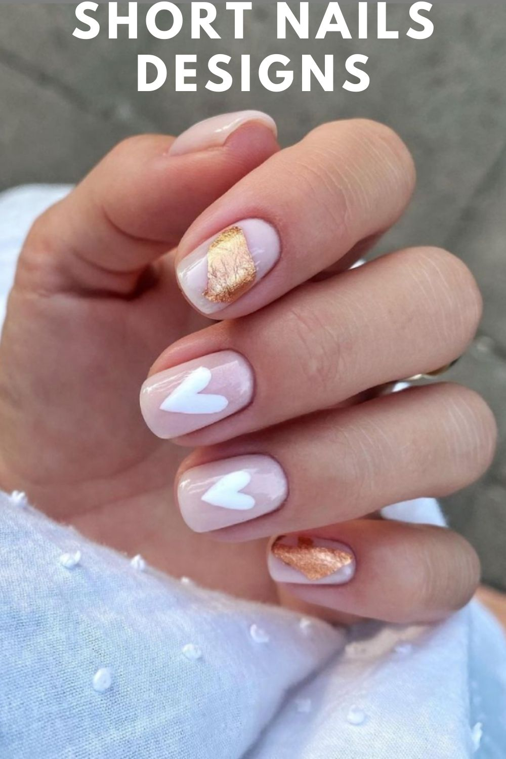 Pink and gold short nail designs with heart