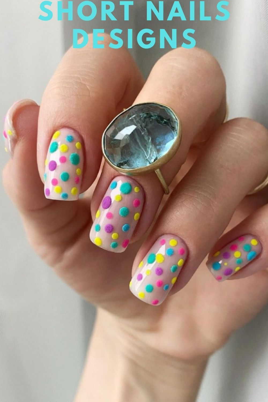 Yellow, purple, light green dots nails art