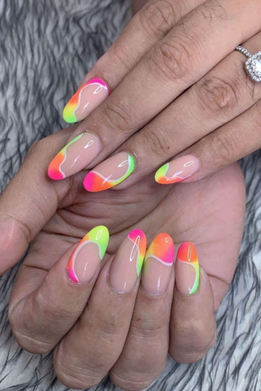 Neon almond nails designs