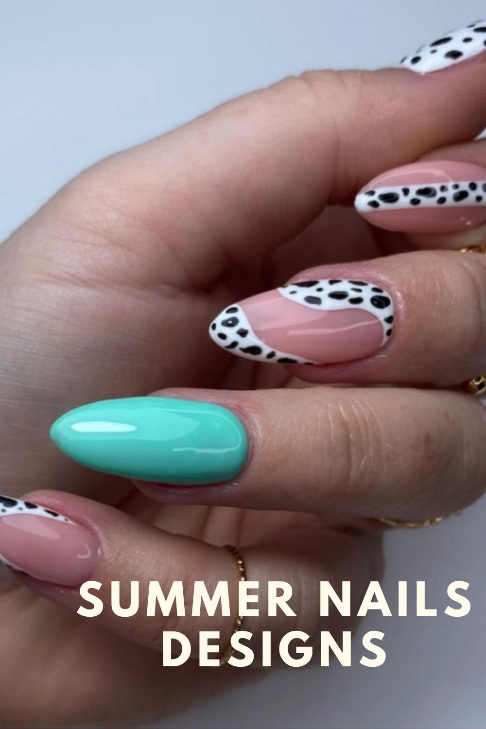 Pink and white almond nails