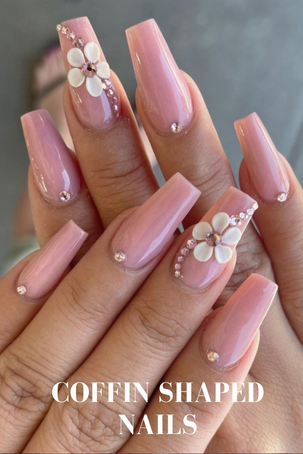 Gel coffin nail art with 3D flower