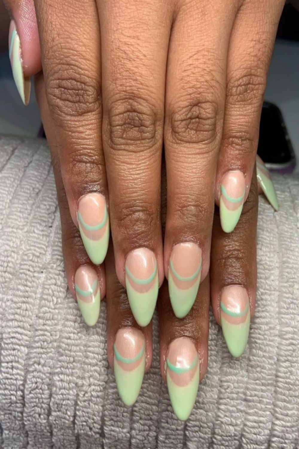 Green and nude nails designs
