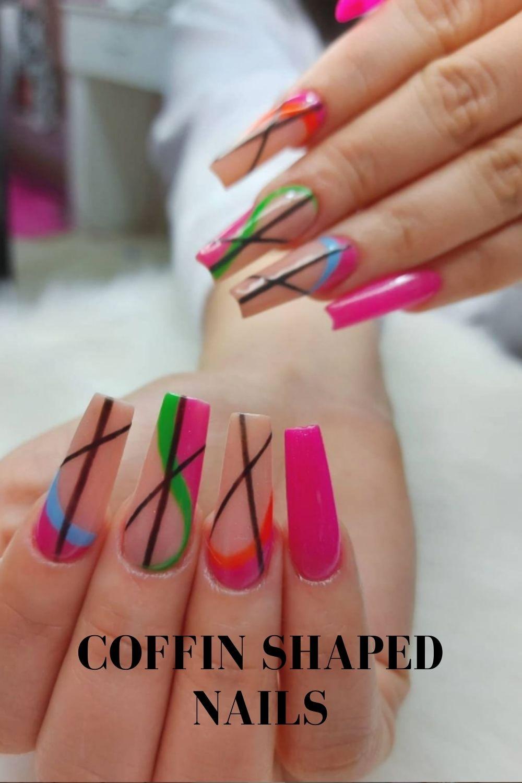 Fun summer nails art for coffin nail