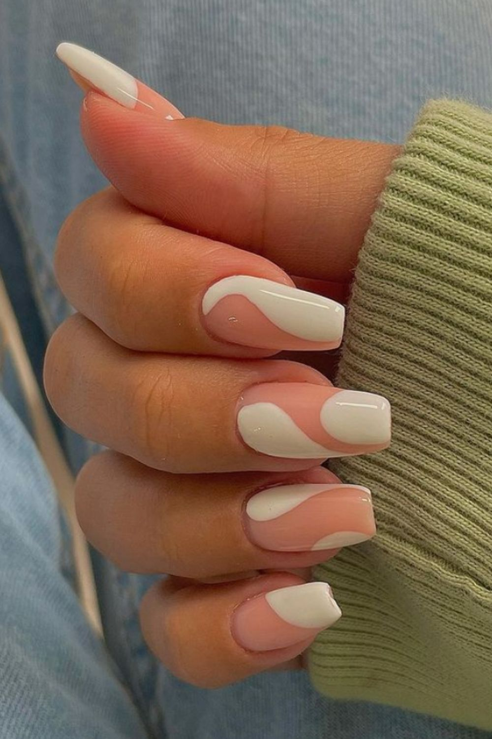 White and pink coffin nails ideas