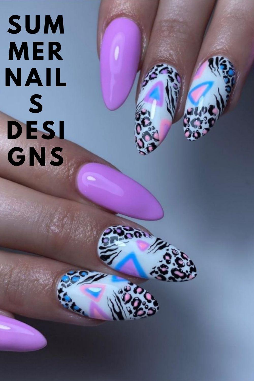 Purple leopard almond nail ideas